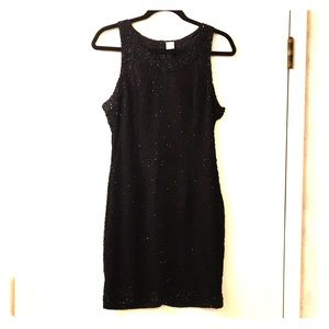 VTG 💯% Silk Hand Beaded Little Black Dress